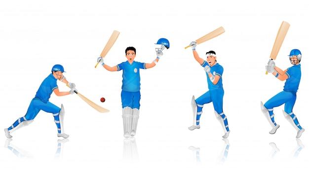 Personaje de cricket bateador en diferentes poses.