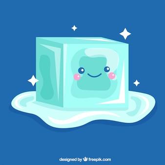 Personaje de cubito de hielo derritiéndose con diseño plano