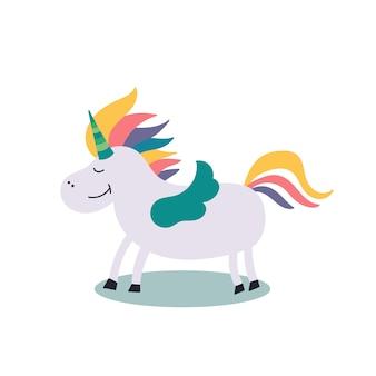 Personaje de cuento de hadas arco iris unicornio alas
