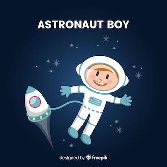 Personaje de astronauta adorable con diseño plano