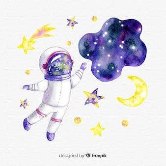 Personaje de astronauta adorable dibujado a mano