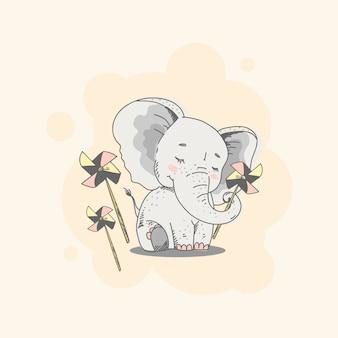 Personaje de dibujos animados lindo elefante dibujado a mano estilo