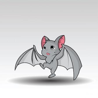 Personaje de dibujos animados lindo murciélago.