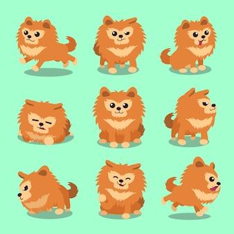 Personaje de dibujos animados pomerania perro plantea
