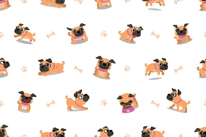 Personaje de dibujos animados vector patrón transparente de perro pug