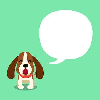 Personaje de dibujos animados vector perro de caza y bocadillo de diálogo para el diseño