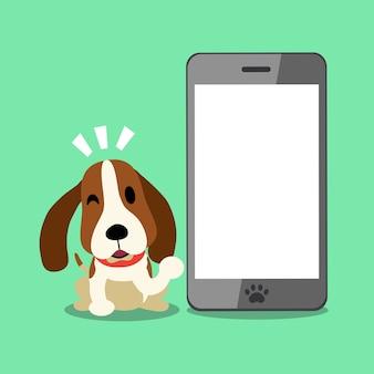 Personaje de dibujos animados vector perro de caza y teléfono inteligente para el diseño