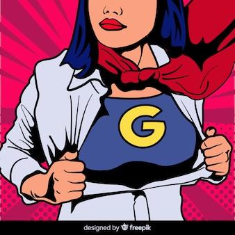 Personaje de superheroína con estilo de pop art