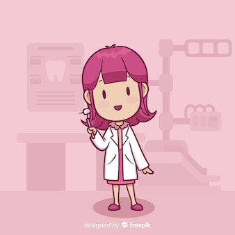 Personaje de dentista en diseño plano