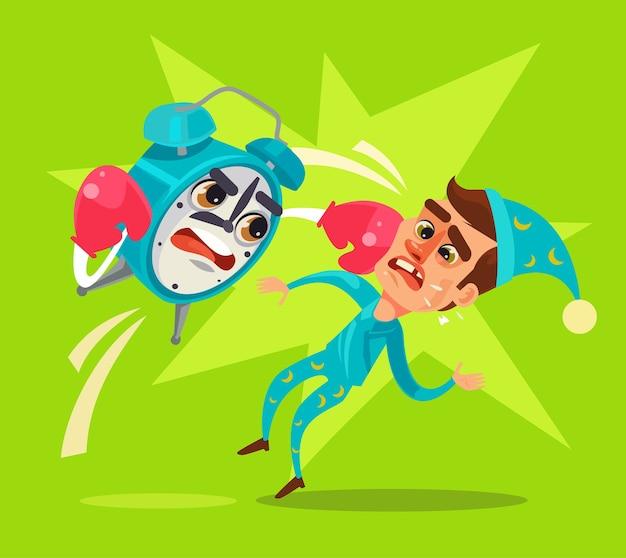 El personaje del despertador golpeó al oficinista.