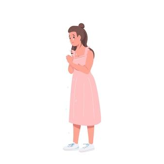 Personaje detallado de color plano de mujer llorando