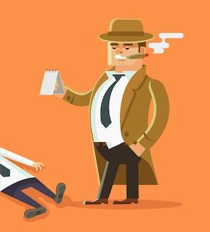 Personaje de detective con cadáver. escena criminal