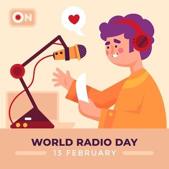 Personaje del día mundial de la radio hablando