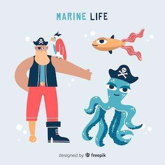 Personaje dibujado a mano vida marina