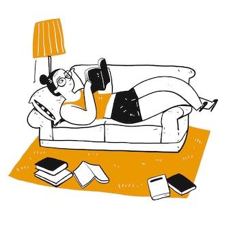El personaje de dibujo de las personas que leen un libro.