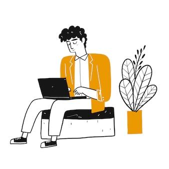 El personaje de dibujo que un hombre usa el cuaderno