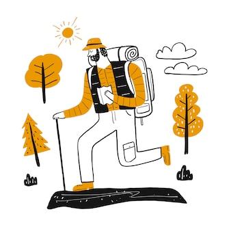 El personaje de dibujo turistas masculinos en conjunto de escalada