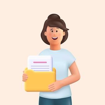 Personaje de dibujos animados en 3d. mujer joven sosteniendo una carpeta con archivo o documentos y sonriendo. ilustración 3d.