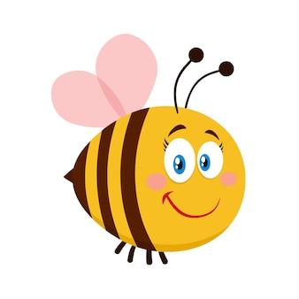 Personaje de dibujos animados de abeja hembra linda. vector ilustración plana aislado