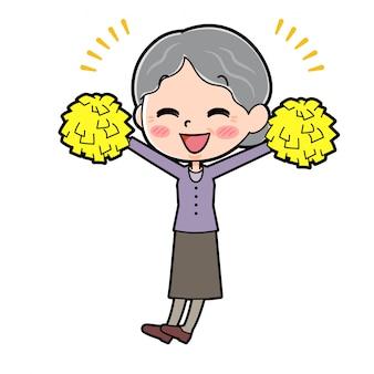 Personaje de dibujos animados abuela, alegría manos arriba