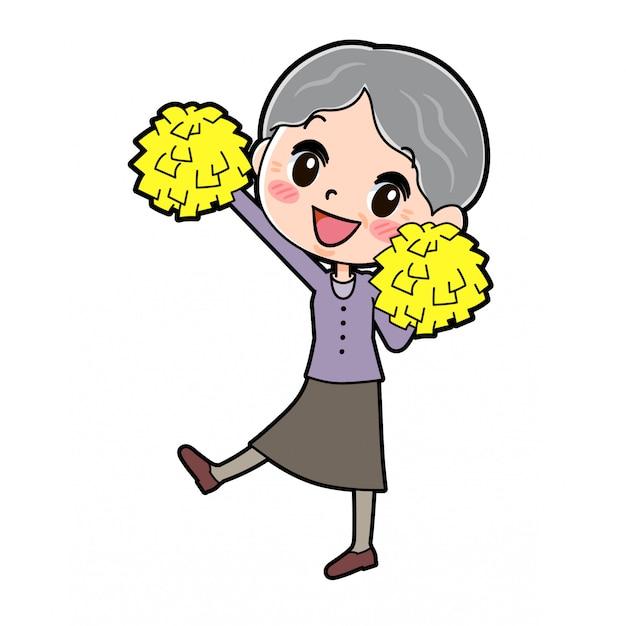Personaje de dibujos animados abuela, salto de alegría