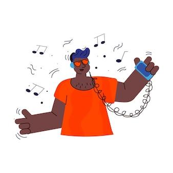Personaje de dibujos animados adolescente escuchando música desde un teléfono inteligente y sonriendo
