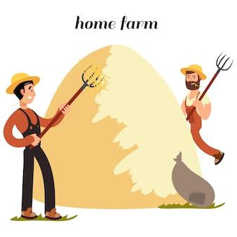 Personaje de dibujos animados agricultores en blanco