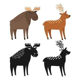 Personaje de dibujos animados alces y ciervos con sus siluetas