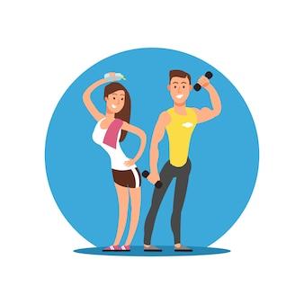 Personaje de dibujos animados alegre niña y niño con equipamiento deportivo