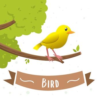Un personaje de dibujos animados amarillo del pájaro que se sienta en una rama. pequeño pájaro amarillo, canario, ilustración vectorial