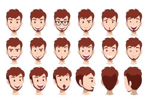 Personaje de dibujos animados para animación y cabeza de hombre.