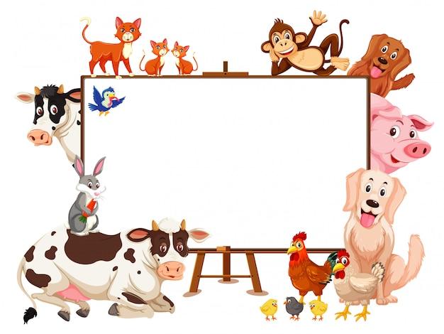 Personaje de dibujos animados de animales de granja y tablero en blanco sobre blanco