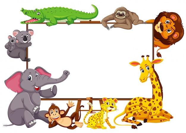Personaje de dibujos animados de animales salvajes y banner en blanco sobre fondo blanco