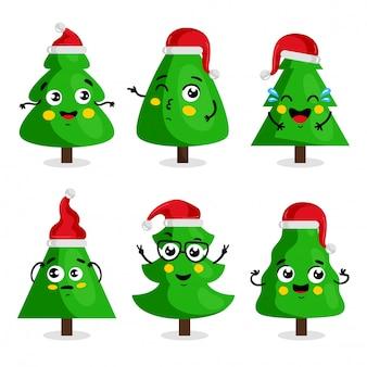 Personaje de dibujos animados de árbol de navidad verde, estilo kawaii
