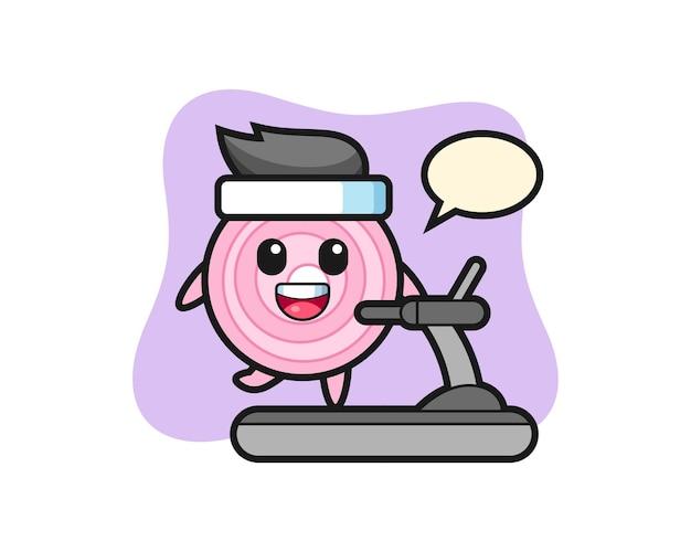 Personaje de dibujos animados de aros de cebolla caminando en la cinta de correr, diseño de estilo lindo para camiseta, pegatina, elemento de logotipo