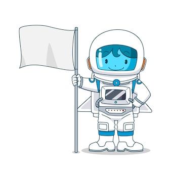 Personaje de dibujos animados de astronauta con bandera