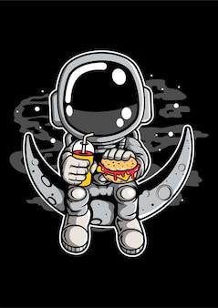 Personaje de dibujos animados de astronauta crescent