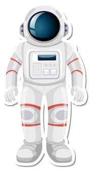 Personaje de dibujos animados de astronauta o astronauta en estilo adhesivo