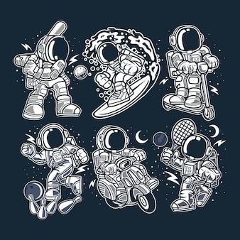 Personaje de dibujos animados de astronautas