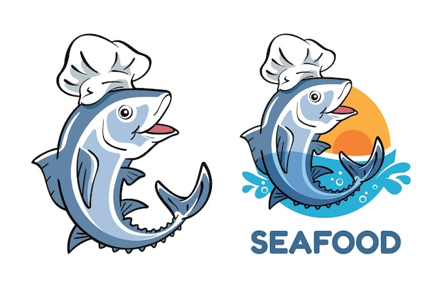 Personaje de dibujos animados de atún con gorro de cocinero