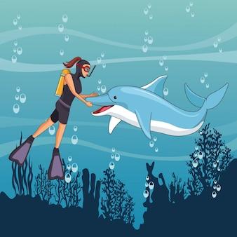 Personaje de dibujos animados avatar de buceo