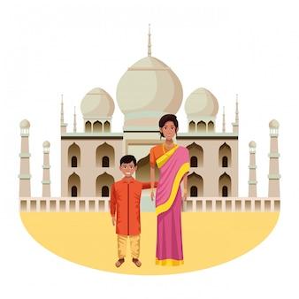 Personaje de dibujos animados de avatar de familia india