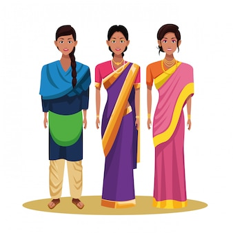 Personaje de dibujos animados de avatar de mujer india