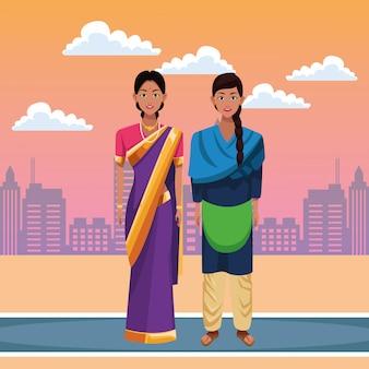 Personaje de dibujos animados de avatar de mujeres indias