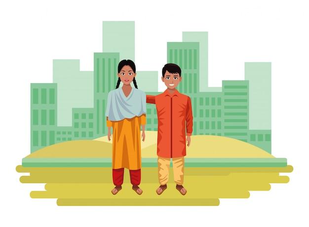 Personaje de dibujos animados de avatar de niños indios
