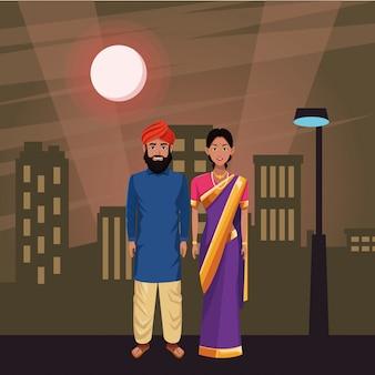 Personaje de dibujos animados de avatar pareja india