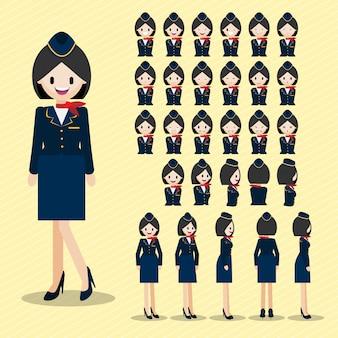 Personaje de dibujos animados con azafata hermosa, conjunto cabeza de dama.