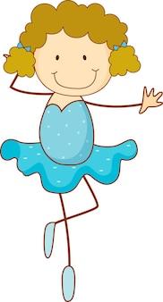 Un personaje de dibujos animados de bailarina de ballet de doodle aislado