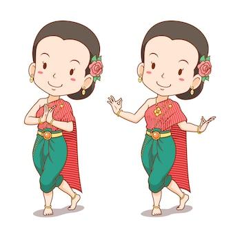 Personaje de dibujos animados de bailarina tailandesa tradicional.