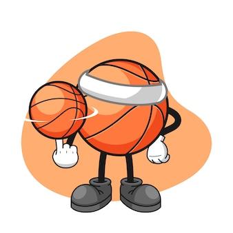 Personaje de dibujos animados de baloncesto girar una pelota de baloncesto